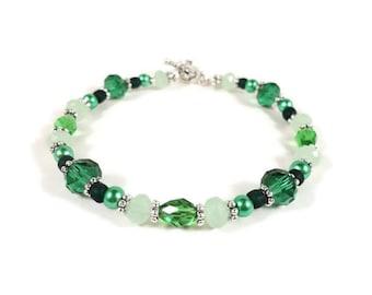 Green Beaded Bracelet, Green Crystal Bracelet, St. Patrick's Day Bracelet, Beaded Jewelry, Handmade Jewelry Gifts under 10 Dollars Gift Idea