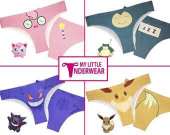 2017 Pokemon Underwear Set Of 4 - Jigglypuff - Snorlax - Gengar - Eevee Pokemon Panties - Pokemon Thongs - Pokemon Clothing - Pokemon Gifts