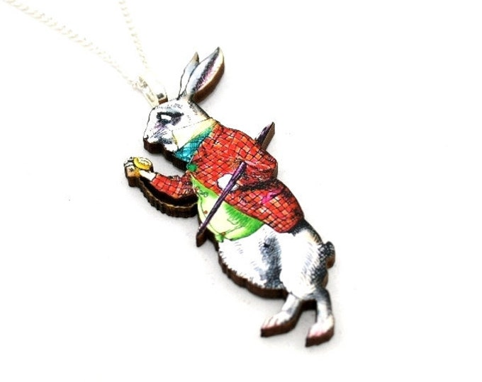 White Rabbit Alice In Wonderland Necklace Tenniel Illustration, Wood Jewelry