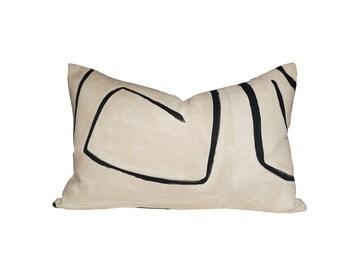Graffito Linen/Onyx lumbar designer pillow covers - Made to Order - Kelly Wearstler