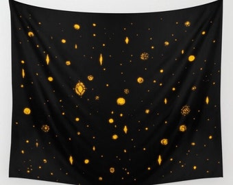 Night Sky Black Gold Stars Wall Tapestry, gold star tapestry, night sky tapestry, black gold tapestry, gold stars tapestry, constellation
