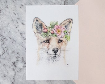 Woodland Nursery Fox Drawing with Floral Crown, A4, 8x10 Art Print | Nursery art for baby girl, baby boy, collectible wall art for kids room