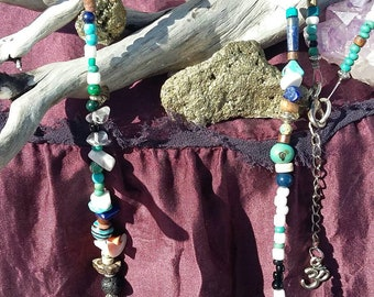 Long Boho Beach Necklace Long Hippie Necklace Boho Beaded Necklace Hippie Bead Necklace Mens Hippie Gift Boho Mens Gift Task Tooth Pendant