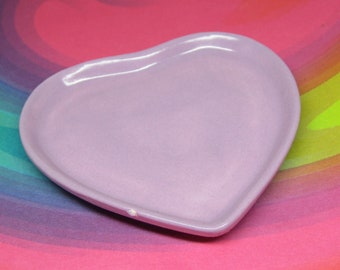 Oopsy ceramic dish miniature heart plate in lavender for your 18 inch doll American Girl party favor purple