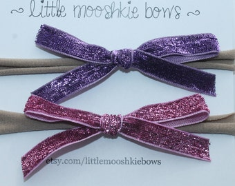 Glitter Bow Set~Pink~Purple~Girls Hair Bow~Fabric Bow~Baby Bows~Hand Tied Bow~Baby headband ~baby girl ~toddler girl