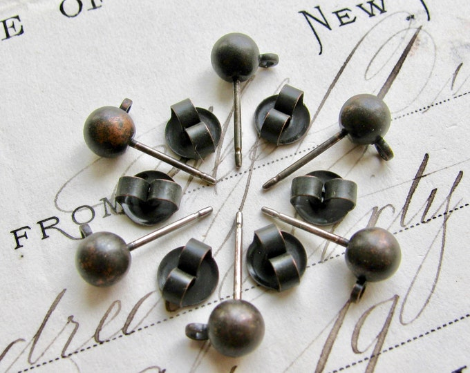 Rustic brass ball earring posts with ear nuts, 5mm round ball with loop (6 weathered ear ring posts) earnuts earwire, antiqued black brass