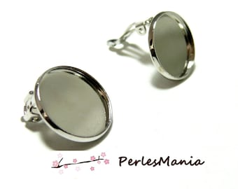 10 support of 12mm platinum silver colored metal clip earrings