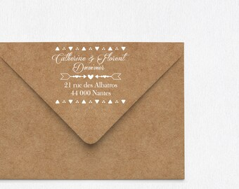 Custom Wedding rubber stamp, save the date stamp, Triangles design wedding stamp, return address Wedding Invitations Stamp, wedding stamp