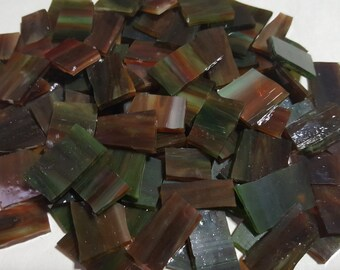 Mosaic Tile 25 salsa BROWN GREEN RED Stained Glass Mosaic Tiles