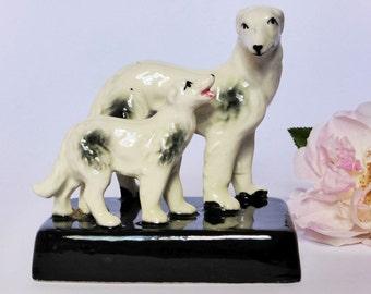 Cute Vintage Irish Wolf Hound Figurine ~ 1950s Porcelain Dogs ~ Kitsch Decor ~ Dog Lover Gift ~ Puppy Knick Knack ~ Mid Century Decor