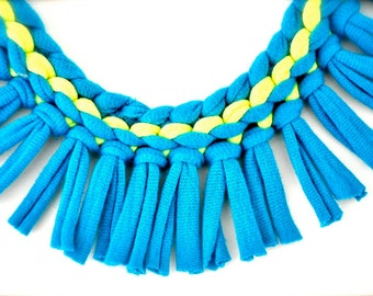 neon turquoise statement necklace - neon yellow blue tribal fringe fabric jewelry recycled
