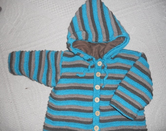 coat fully lined knit hooded 18 months