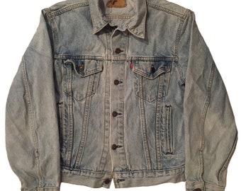 Vintage 1980s Levis Type 3 Distressed Denim Jcket Mens Size S/M