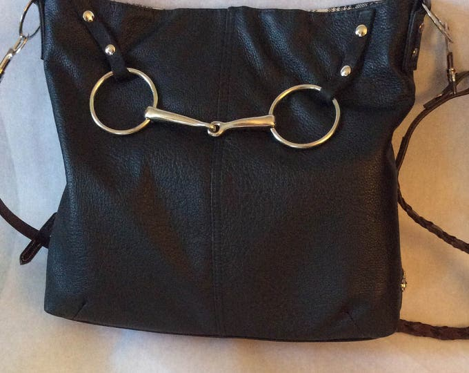 Black Leather Equestrian Horse Bit Tote Bag Kentuck Derby
