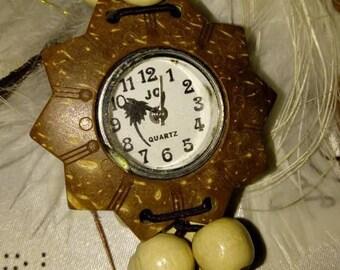 Watch watch Quartz Bracelet pearls dial ethnic coconut wood
