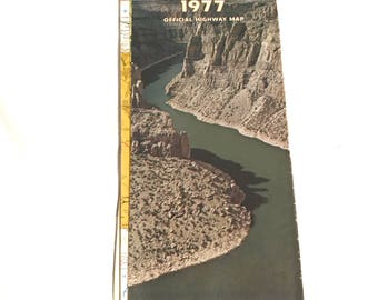 Vintage Highway Road Map Wyoming 1977 Devils Canyon Cover