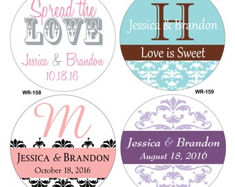 150 - 1.5 inch Personalized Glossy Wedding Stickers Labels - hundreds of designs to choose from - change designs to any color or wording