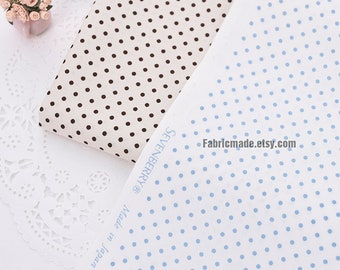 Blue Brown Polka Dots Cotton Fabric On Off White Ivory- 1/2 Yard