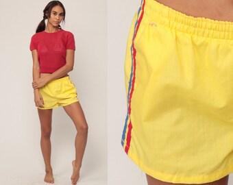 Retro Swim Trunks 80s Bathing Suit Shorts Vintage Swimwear Striped 70s Hipster Swimsuit Swim Shorts Yellow Elastic Waist Small Medium