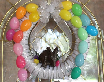 Chocolate Bunny and Colorful Easter Eggs Wreath - Easter Wreath - Spring Wreath