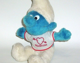 Vintage Smurf Doll 1979  Valentine Plush Peyo Smurf Animal Toy
