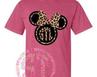 Mouse with bow and outline Heat Transfer Leopard Short Sleeve T Shirt Comfort Color or Gildan or Comfort Color Tank
