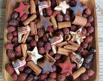 Americana Stars and Stripes Saltdough Mix, Rustic, Summer Decor, Fixins Add-in, Potpourri Add-in, Grubbied, Red, White, Blue, Stars, Flag