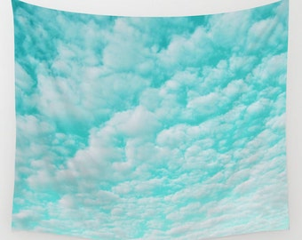 Cloud Wall Tapestry, Aqua Blue Large Size Wall Art, Nature Decor, Teal Tapestry, Cloudy Sky, Mint Sky, Blue, Dorm, Office, Ocean Blue