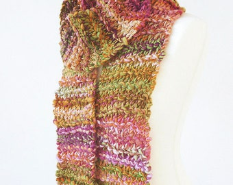 Handknit long scarf made with handspun luxury yarn - READY TO SHIP