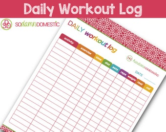 "Daily Workout Log Printable Planner - Letter Size 8.5"" x 11"""