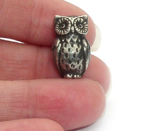 Horned Owl Bead Green Girl Studios Pewter