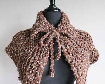 Rustic Capelet Mocha Brown Light Taupe Color Outlander Inspired Clothing Knitted Cowl Mini Poncho Turtleneck Collar with Crocheted Ties