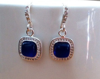 Silver plated Royal blue and crystal earrings