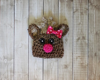 Baby Reindeer hat w BOW beanie great photo prop or gift for Christmas (sizes nb-child)