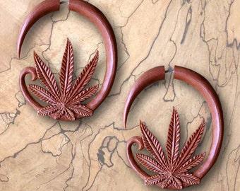 Fake Gauges, Mary Jane Hoops, Tribal Earrings, Split Expanders, Cheaters, Organic, Handmade, Tribal Jewelry, Fake Plugs, Tropical Wood, W28
