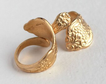 Large Brass Spoon Handle Ring - Adjustable (1X) (J600)