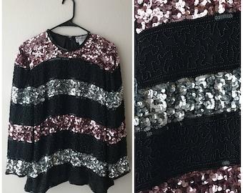 Vintage long sleeve sequin top , sequin blouse , vintage sequin top , long sleeve sequin shirt , vintage sequin blou