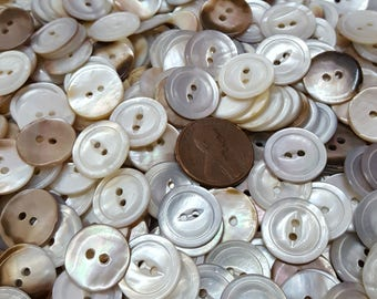 Vintage Pearly White Carved Real River Shell buttons Fisheye MOP Shirt Size 24L 15MM 2-hole sew-on iridescent sewing crafts Jewelry