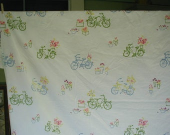 Vintage Duvet Cover, King Bed Size, Cute Bicycle Print, White Ground, Pink, Green, Yellow, and Blue,  100% Cotton