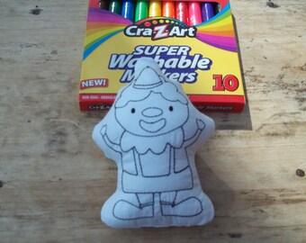Clown Coloring Stuffie : Coloring . Plushie .Washable . Reusable . . Clown .