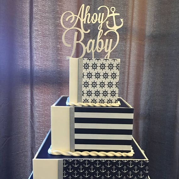 Baby Shower Cake Topper, Ahoy Baby Cake Topper, Nautical Cake Topper, Nautical Baby Shower, Wooden Cake Topper, Under The Sea Cake Topper
