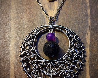 Lava Stone, Amethyst and Tibetan Silver Flower Filigree Pendant, Essential Oil Diffuser Necklace, Diffuser Jewelry , Aromatherapy