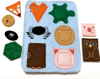 """Animals shape Matching Quiet book page - 5 X 7 """"- busy book - toddler learning toy - educational gift - church quiet book - QB131"""