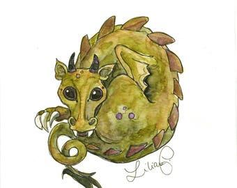 Neetle the Dragon (original watercolor)