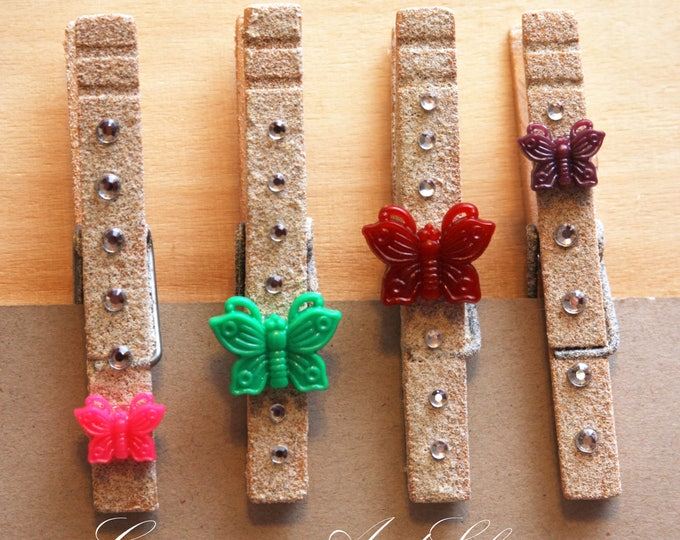 Butterfly Clothespin Magnet Set of 4, Butterfly Clothespeg, Butterfly Decor, Refrigerator Magnets, Photo Holder, Dorm Decor, Decorative Clip