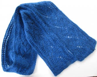 Scarf 2 blue melted knitted by hand with acrylic and Wool Lace stitch