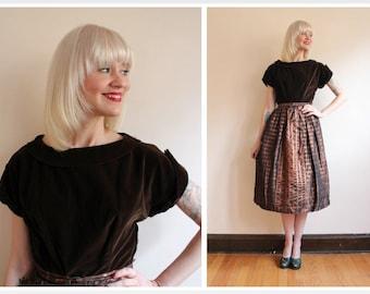 1950s Dress // Betty Barclay Velvet & Taffeta Dress // vintage 50s party dress