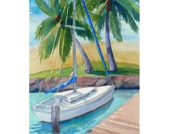 Hawaii original watercolor painting of Ilikai Marina, 7x5 tropical harbor art by Janet Zeh
