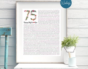 75th birthday gift for Mom / For Nana / For HER / Flower / 1943 / 75 Reasons We love you / DIGITAL Download / Unique Gift / Custom Word Art