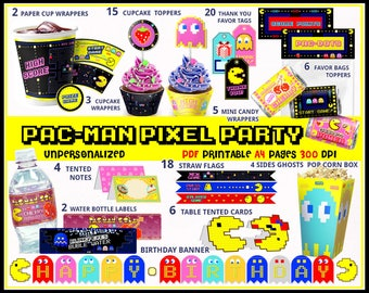 Pacman arcade games party printables, Pacman birthday, 80s party, Retro video games, Pacman banner, arcade birthday, pixels, party supplies